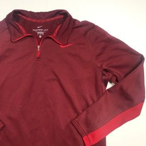 NIKE MENS XL RED PULLOVER THERMA-FIT SHIRT TOP